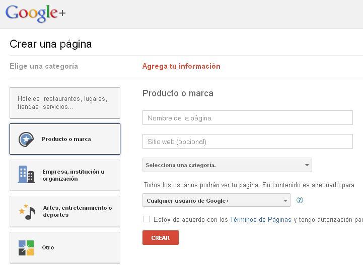 google+ compañias