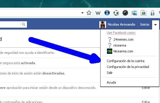 configuracion de cuenta facebook