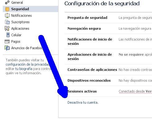 desactivar cuenta de facebook