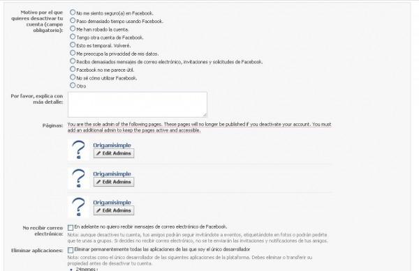desactivar cuenta de facebook 2