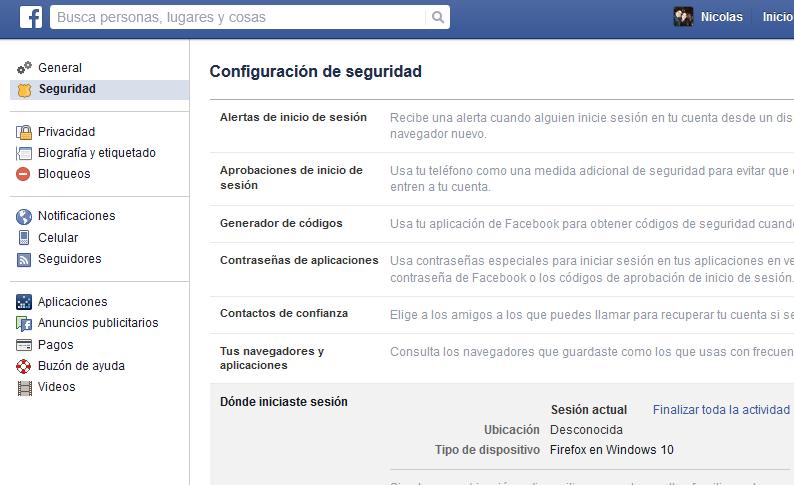 facebook donde iniciaste sesion
