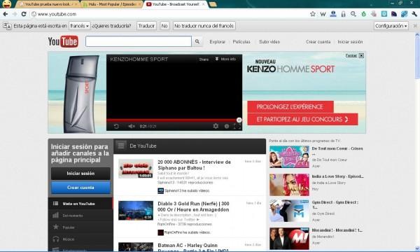 youtube nuevo 2012